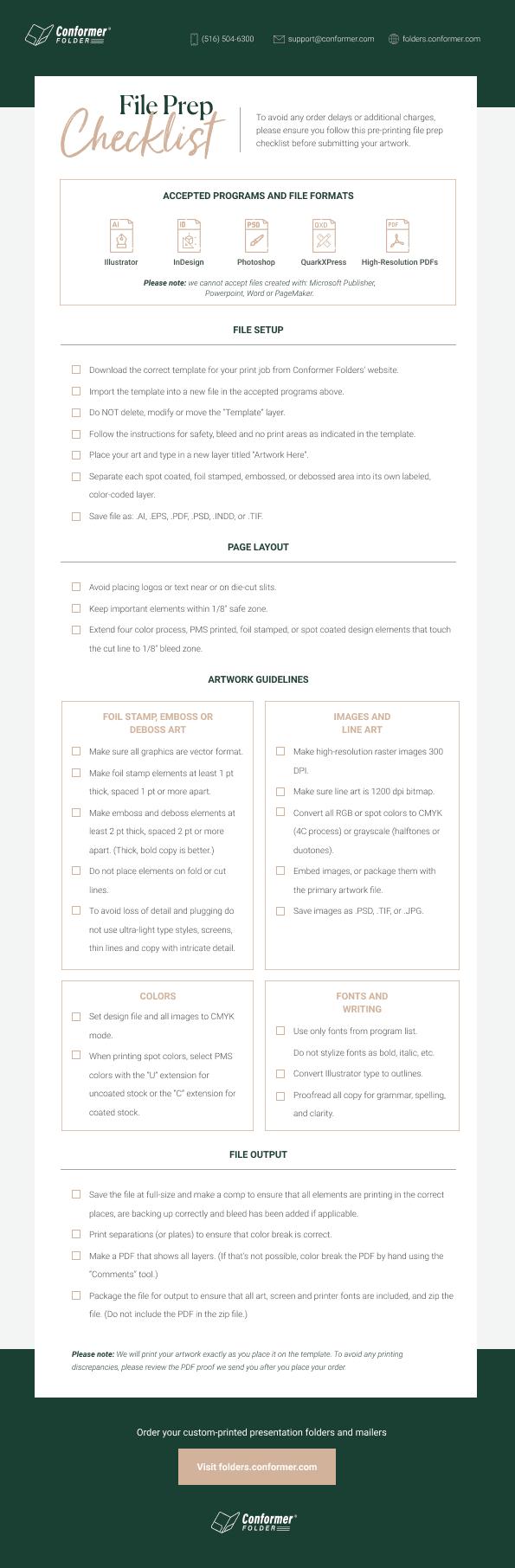 Free presentation folder printing checklist